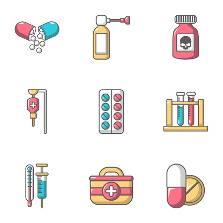 Remedy icons set, cartoon style