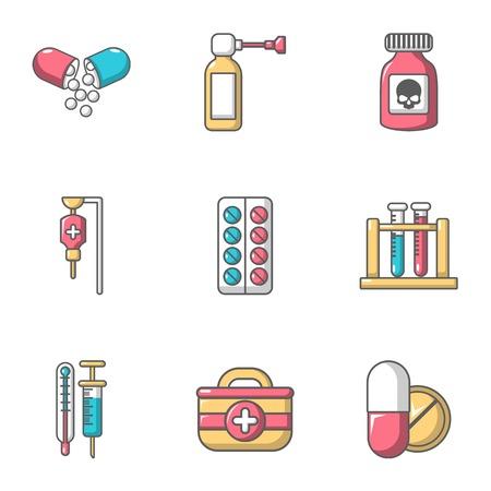 Remedy icons set, cartoon style