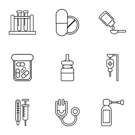 Chemical substance icons set, outline style