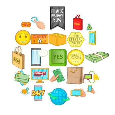 Shop online icons set, cartoon style