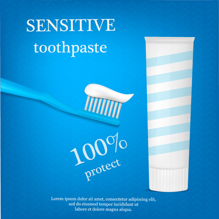 Sensitive toothpaste concept background, realistic style