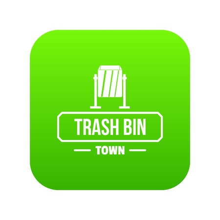 Bin trash town icon green vector