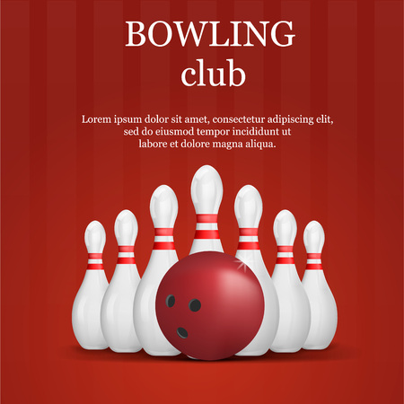 Bowling club concept background, realistic style