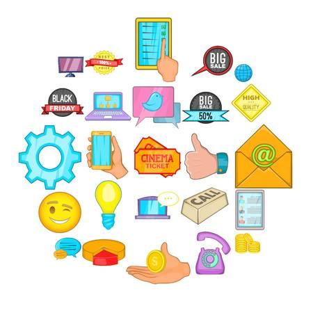 Internet shop icons set, cartoon style