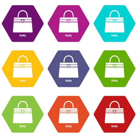 Kelly bag icons 9 set coloful isolated on white for web