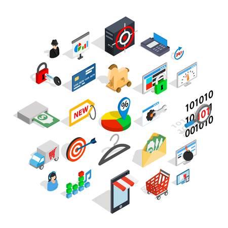 Online service icons set, isometric style