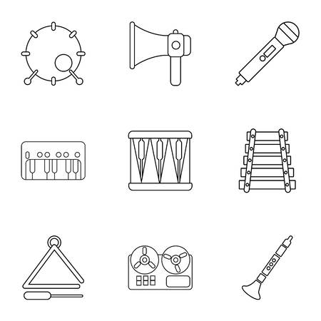 Musical education icons set, outline style Illustration