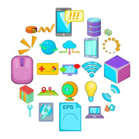 Data center icons set, cartoon style