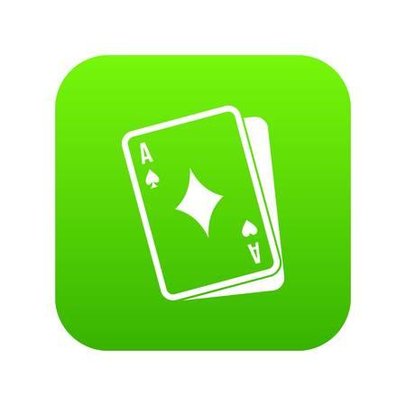 Playing card icon digital green Illustration