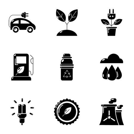 Pure potency icons set, simple style