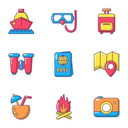Warm rest icons set, cartoon style Foto de archivo - 102522602