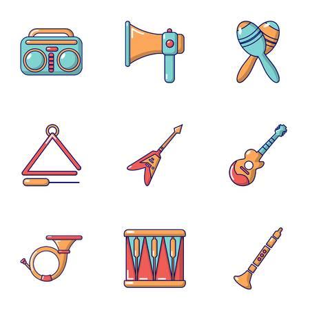 Musical training icons set, cartoon style Illustration