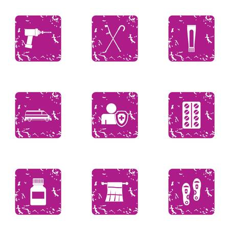 Health insurance icons set, grunge style
