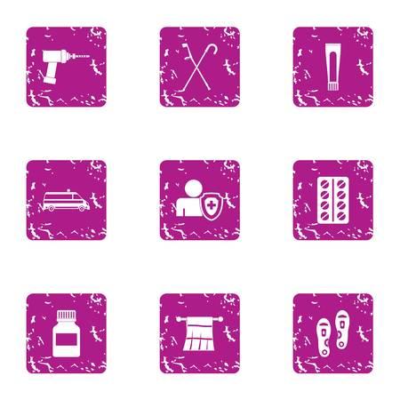 Health insurance icons set, grunge style