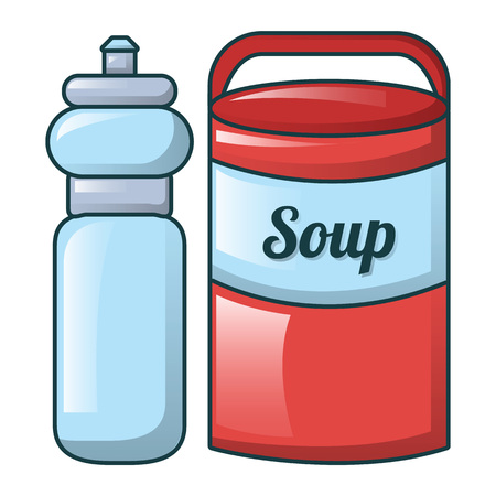 Water soup icon, cartoon style Illustration