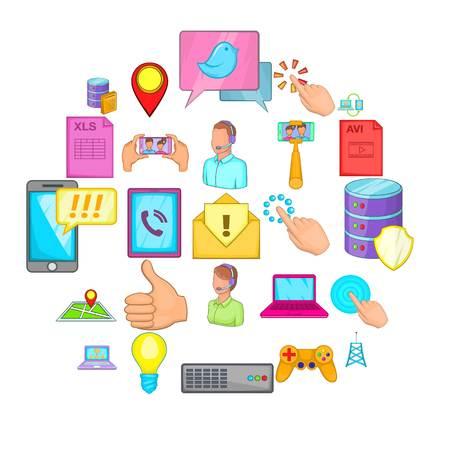 IT expert icons set, cartoon style Çizim