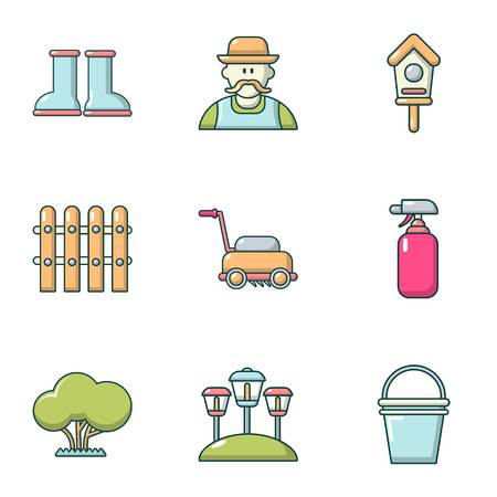 Ennoble icons set, cartoon style  イラスト・ベクター素材