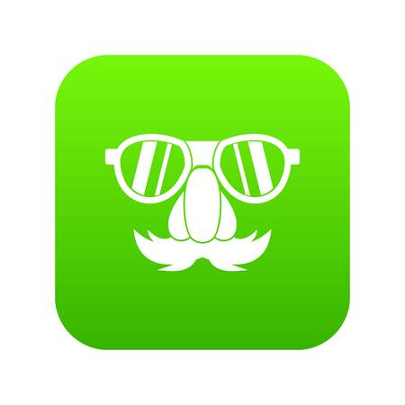 Clown face icon digital green Illustration