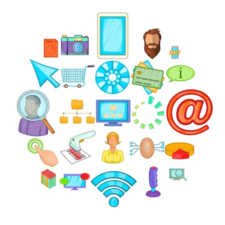 IT support icons set, cartoon style Illustration