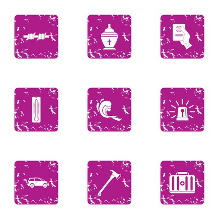 Condition of residing icons set, grunge style