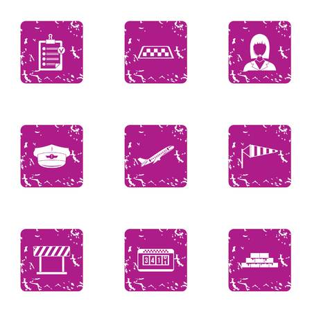 Taxi rank icons set, grunge style Vettoriali