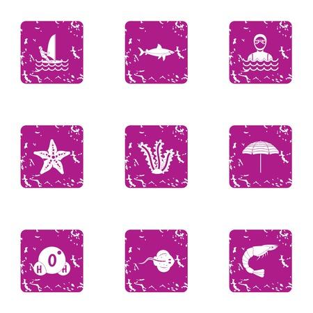 Marine reserve icons set, grunge style Stock Illustratie