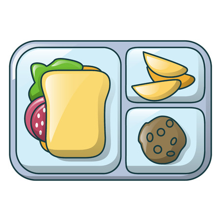 Gamburger on tray icon, cartoon style Иллюстрация