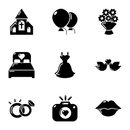 Romantic atmosphere icons set, simple style