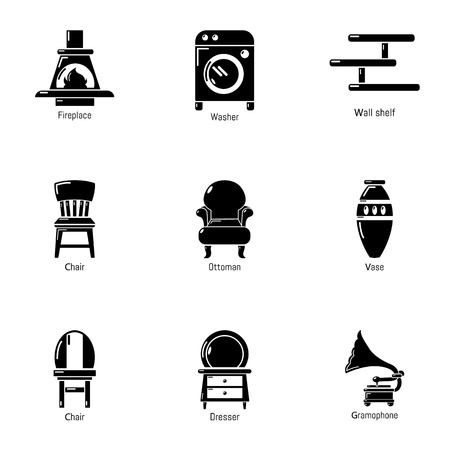 Homelike atmosphere icons set, simple style