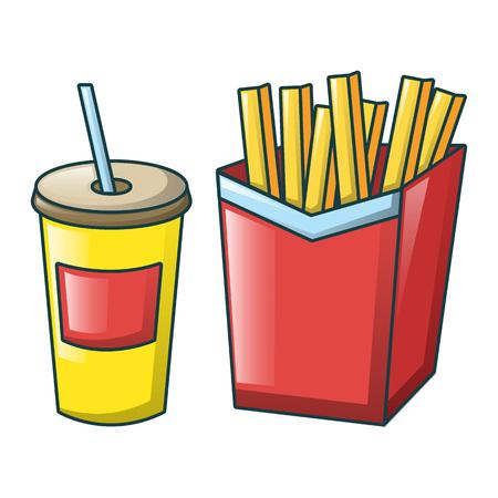 Cola and fri icon, cartoon style
