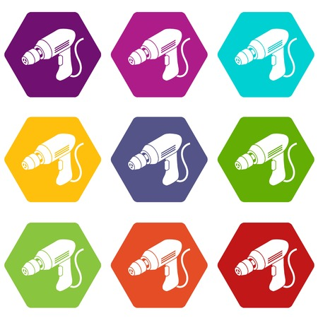 Corded drill icons set 9 vector