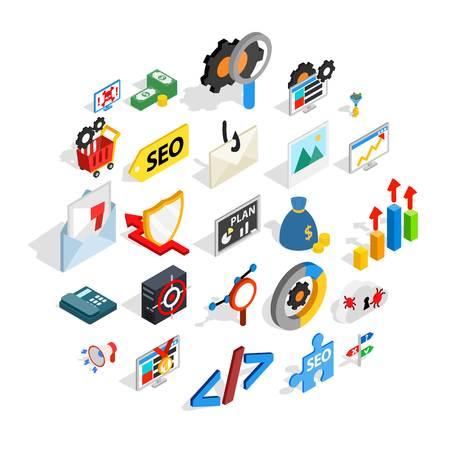 SEO development icons set, isometric style Illustration