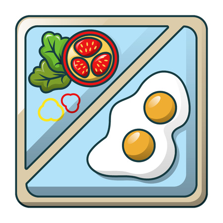 Egg on tray icon, cartoon style