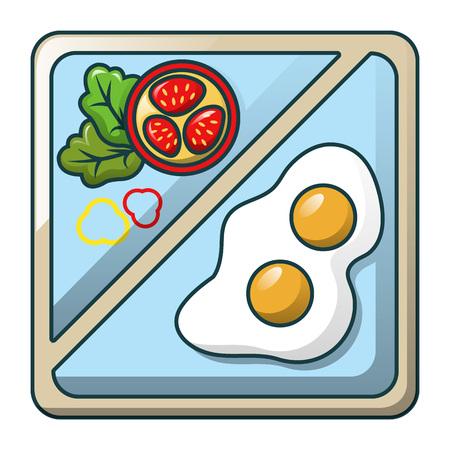 Egg on tray icon, cartoon style Foto de archivo - 102522805