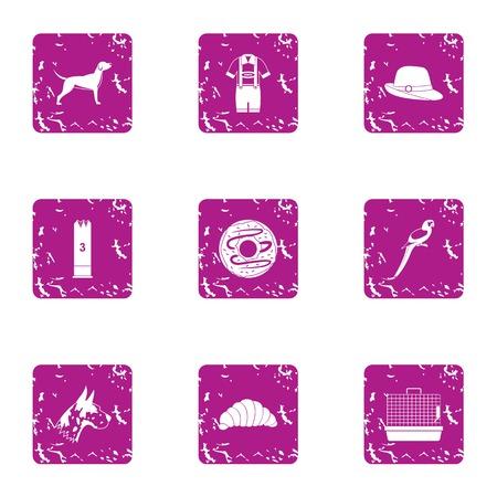 Zoological garden icons set, grunge style
