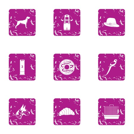 Zoological garden icons set, grunge style