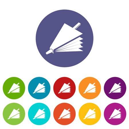 Fire bellows icons set vector color