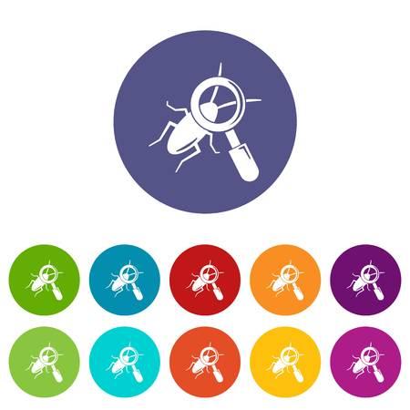 Search insect icons set vector color Ilustração