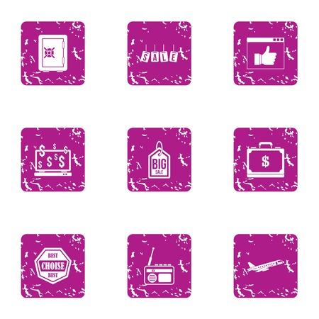 Disposal icons set, grunge style Illustration