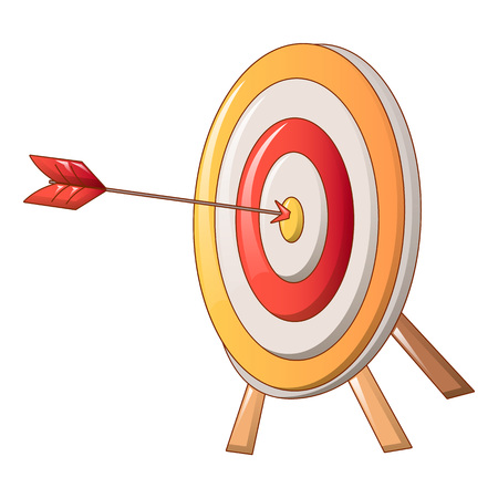 Target with arrow icon, cartoon style