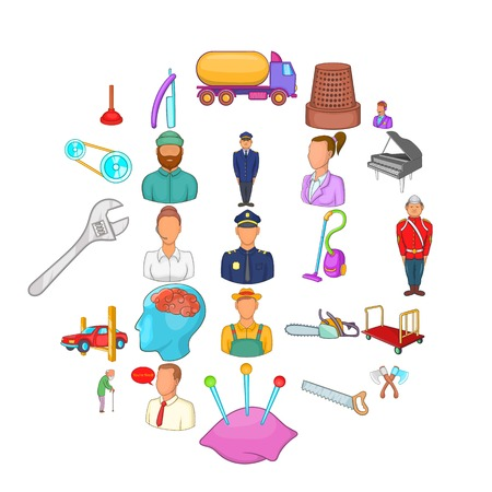 Proceedings icons set, cartoon style