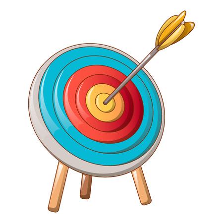 Archery target icon, cartoon style
