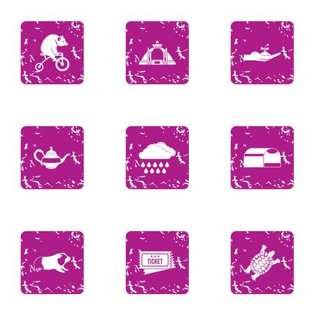 Circus production icons set, grunge style