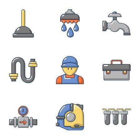 Sanitary icons set, cartoon style