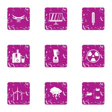 Potency icons set, grunge style Illustration