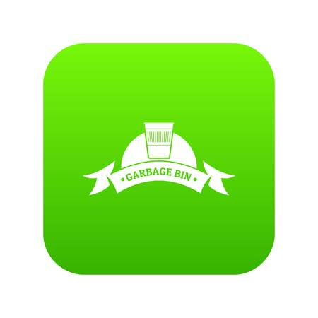Bin office icon green vector