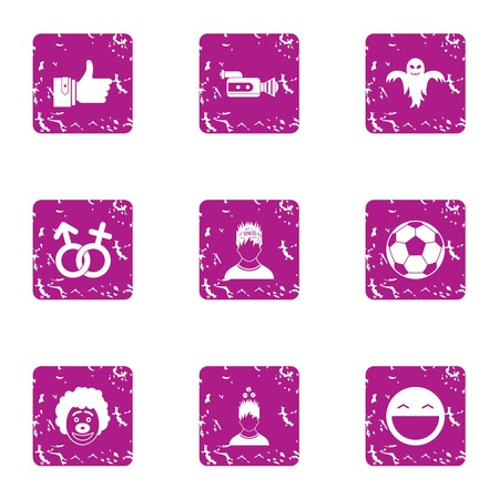 Scary date icons set, grunge style