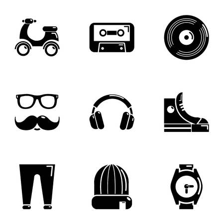 Hipster life icons set, simple style Ilustração