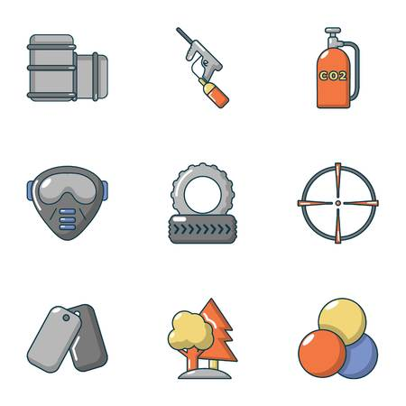 Military training icons set, cartoon style