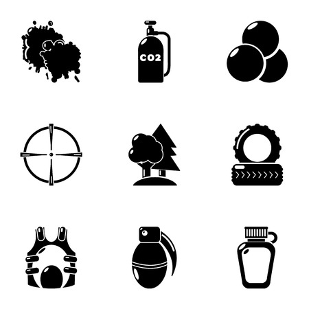Military exercise icons set, simple style